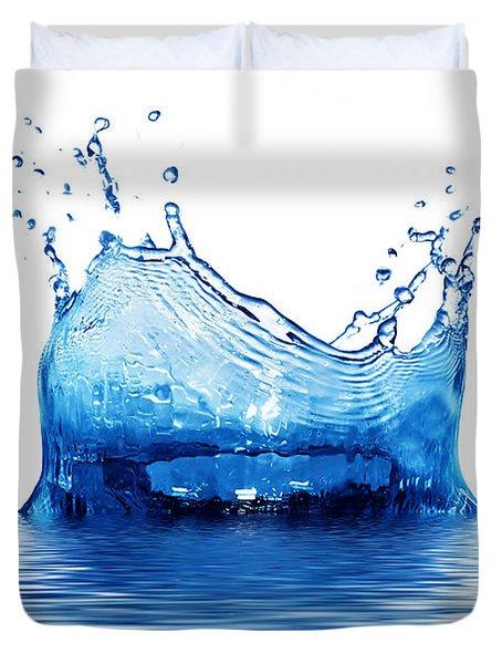 Fresh Clean Water Splash In Blue Duvet Cover by Michal Bednarek