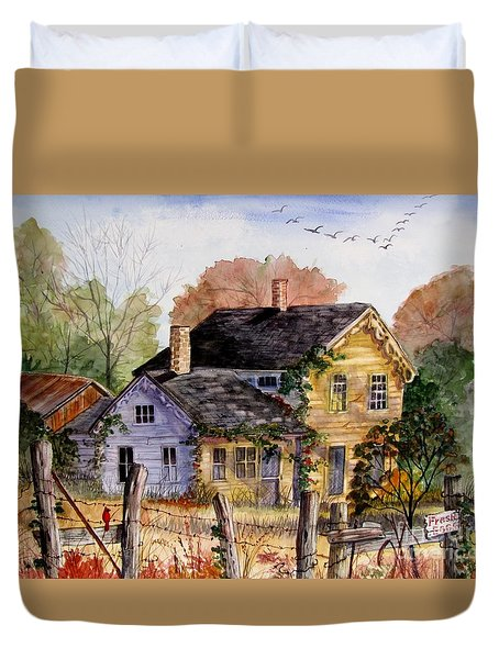 Fresh Eggs For Sale Duvet Cover by Marilyn Smith