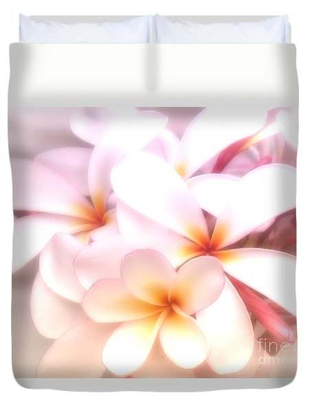 Fresh Frangipani Duvet Cover by Karen Lewis