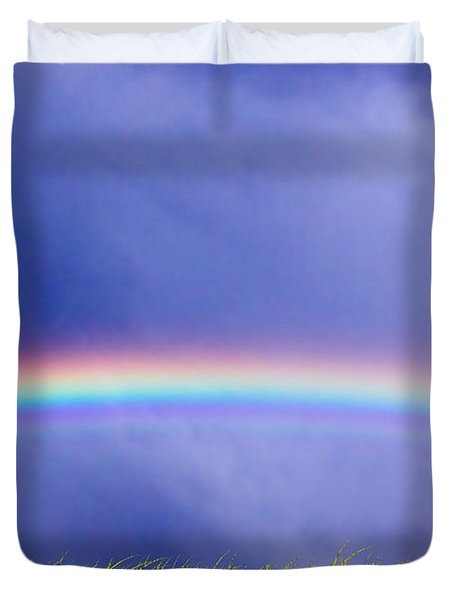 Fresh Grass And Sky With Rainbow Duvet Cover by Michal Bednarek