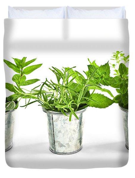 Fresh herbs in pots Duvet Cover by Elena Elisseeva