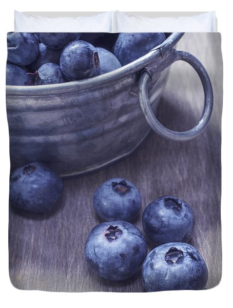 Fresh picked blueberries with vintage feel Duvet Cover by Edward Fielding