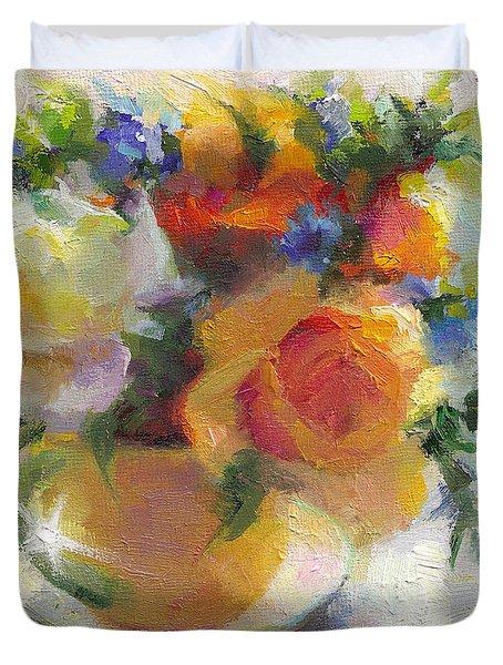 Fresh - Roses In Teacup Duvet Cover by Talya Johnson