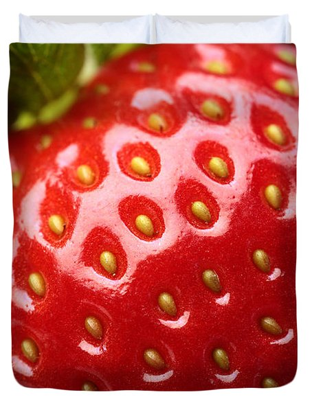 Fresh strawberry close-up Duvet Cover by Johan Swanepoel