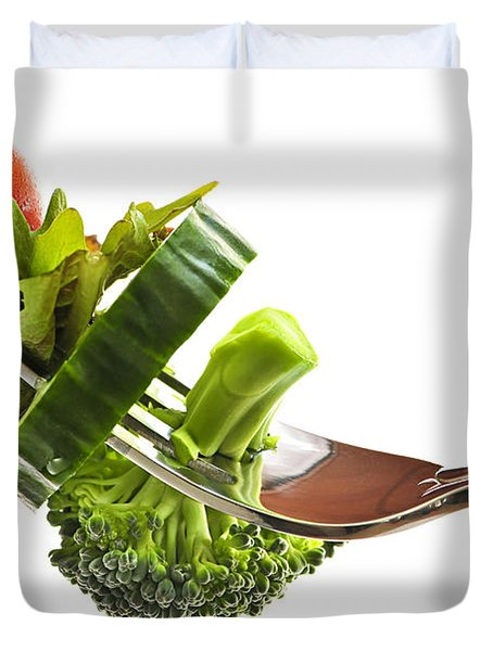 Fresh Vegetables On A Fork Duvet Cover by Elena Elisseeva