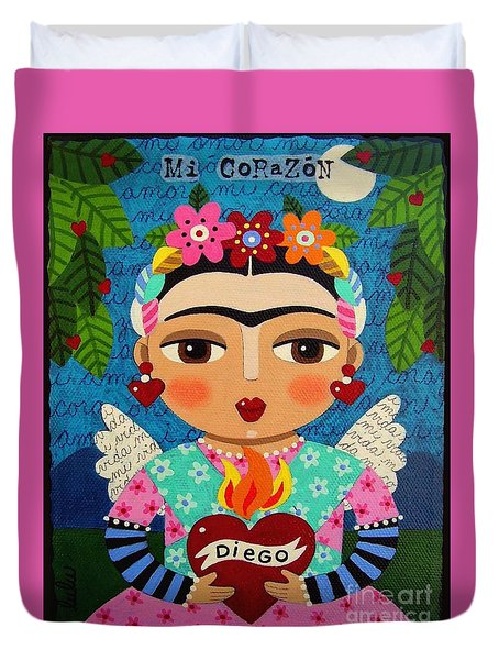 Frida Kahlo Angel And Flaming Heart Duvet Cover by LuLu Mypinkturtle