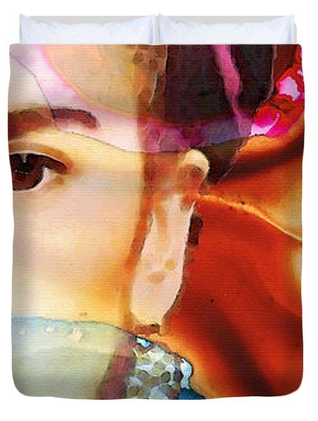 Frida Kahlo Art - Seeing Color Duvet Cover by Sharon Cummings