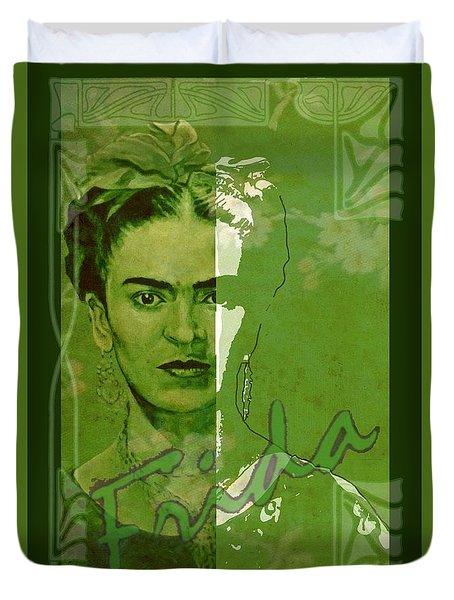 Frida Kahlo - Between Worlds - Green Duvet Cover by Richard Tito