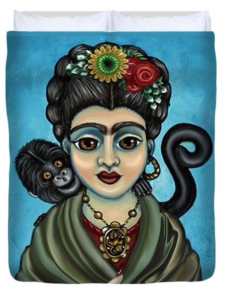 Frida's Monkey Duvet Cover by Victoria De Almeida