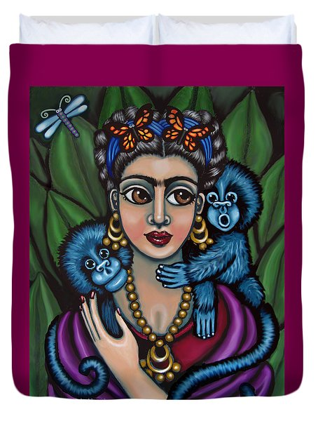 Frida's Monkeys Duvet Cover by Victoria De Almeida