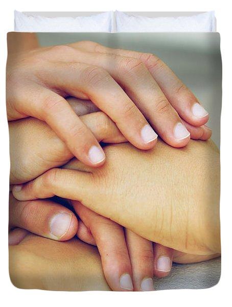 Friends Hands Duvet Cover by Carlos Caetano