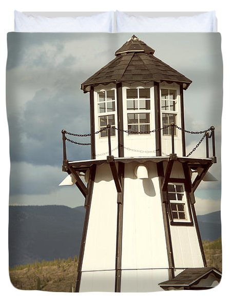 Frisco Bay Marina Lighthouse Duvet Cover by Juli Scalzi