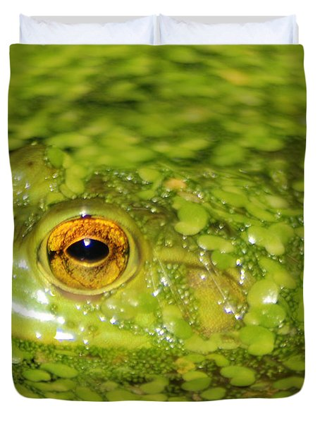 Frog In Single Celled Algae Duvet Cover by Optical Playground By MP Ray
