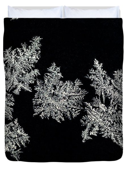 Frosty Snowflakes Duvet Cover by Mariola Bitner