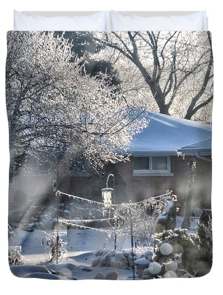 Frosty Winter Window Duvet Cover by Thomas Woolworth