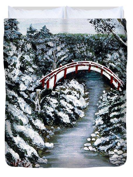 Frozen Brook - Winter - Bridge Duvet Cover by Barbara Griffin