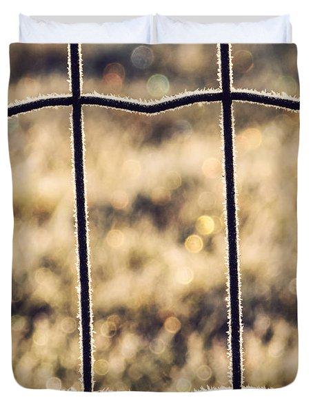 Frozen Fence Duvet Cover by Wim Lanclus