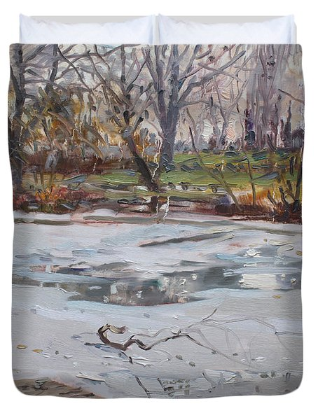 Frozen Pond Duvet Cover by Ylli Haruni