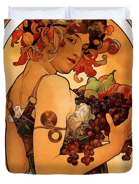 Fruit Duvet Cover by Alphonse Maria Mucha