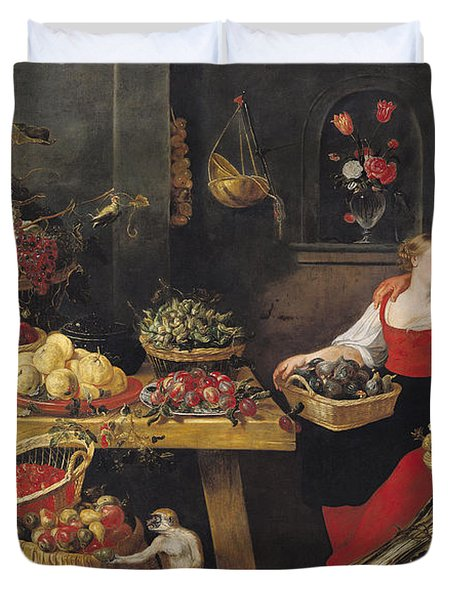 Fruit And Vegetable Market Oil On Canvas Duvet Cover by Frans Snyders
