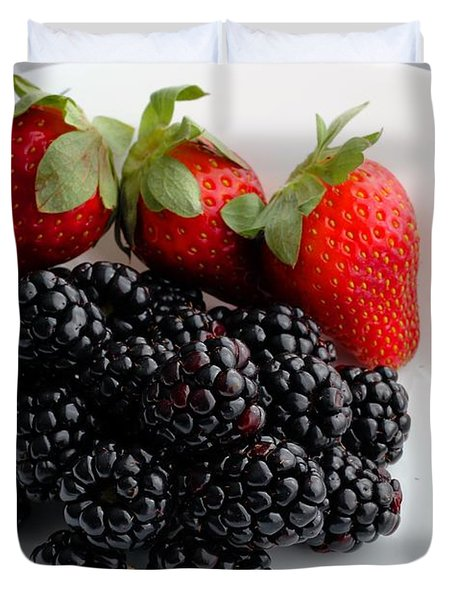 Fruit iii - Strawberries - Blackberries Duvet Cover by Barbara Griffin