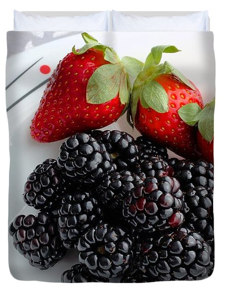 Fruit iv - Strawberries - Blackberries Duvet Cover by Barbara Griffin