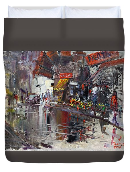 Fruit Market Duvet Cover by Ylli Haruni
