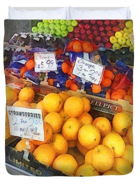 Fruit Stand Hoboken Nj Duvet Cover by Susan Savad