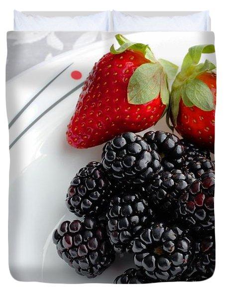 Fruit V - Strawberries - Blackberries Duvet Cover by Barbara Griffin