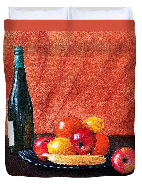 Fruits and Wine Duvet Cover by Anastasiya Malakhova