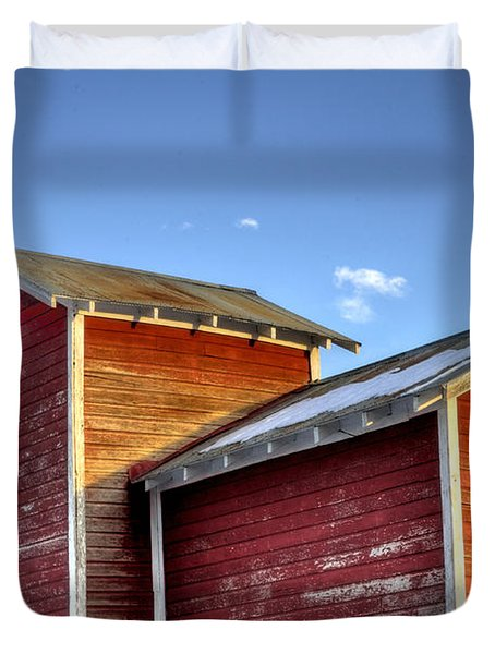Ft Collins Barn Sunset 13505 Duvet Cover by Jerry Sodorff