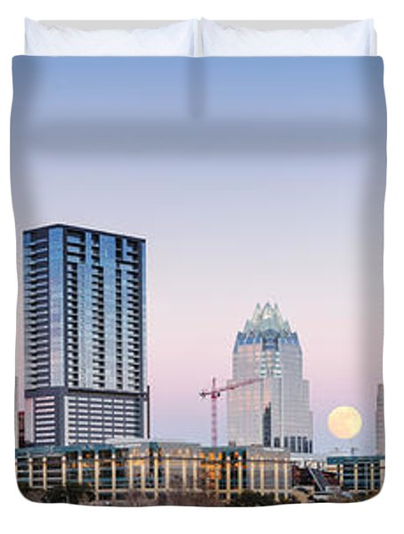 Full Moon Rising Behind Downtown Austin Skyline Texas Duvet Cover by Silvio Ligutti