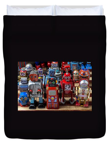 Fun Toy Robots Duvet Cover by Garry Gay
