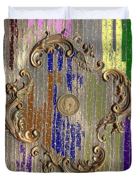Funky British Shilling Duvet Cover by Joseph Baril