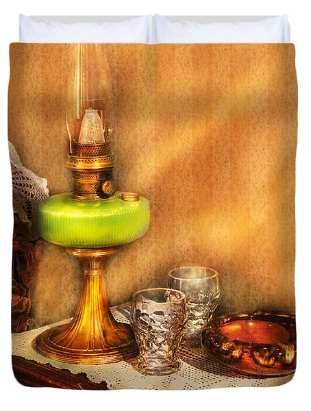 Furniture - Lamp - The Gas Lamp Duvet Cover by Mike Savad