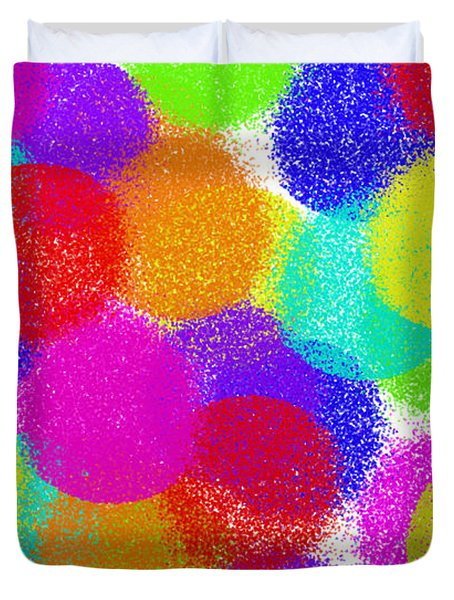 Fuzzy Polka Dots Duvet Cover by Andee Design