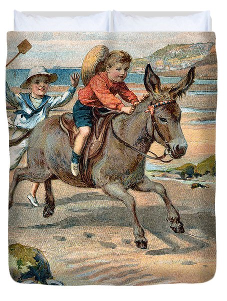 Galloping Donkey At The Beach Duvet Cover by Unknown
