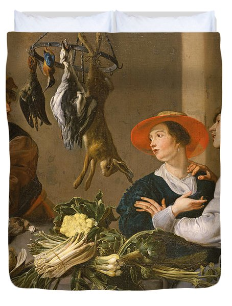Game And Vegetable Sellers Oil On Canvas Duvet Cover by Theodor Rombouts