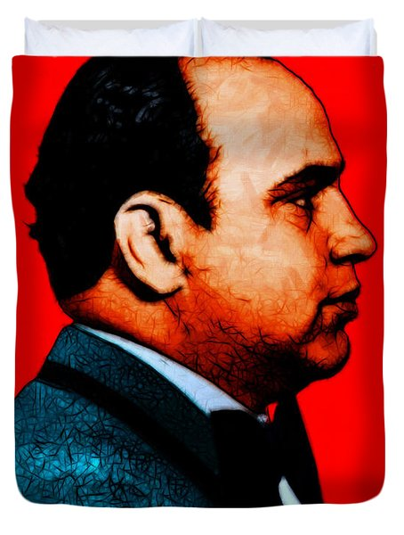 Gangman Style - Al Capone c28169 - Red - Painterly Duvet Cover by Wingsdomain Art and Photography