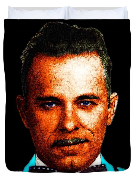Gangman Style - John Dillinger 13225 - Black - Color Sketch Style Duvet Cover by Wingsdomain Art and Photography