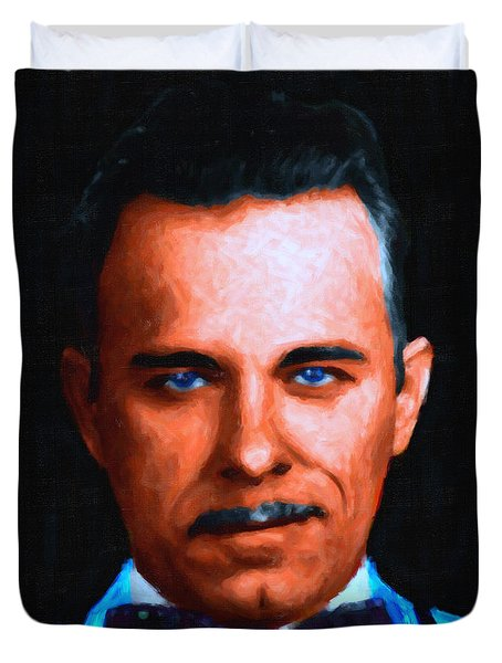 Gangman Style - John Dillinger 13225 - Black - Painterly Duvet Cover by Wingsdomain Art and Photography