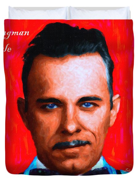 Gangman Style - John Dillinger 13225 - Red - Painterly - With Text Duvet Cover by Wingsdomain Art and Photography