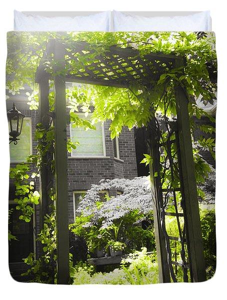 Garden arbor in sunlight Duvet Cover by Elena Elisseeva