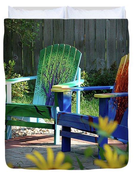 Garden Chairs Duvet Cover by First Star Art