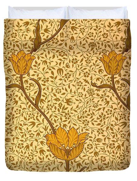 Garden Tulip Wallpaper Design Duvet Cover by William Morris