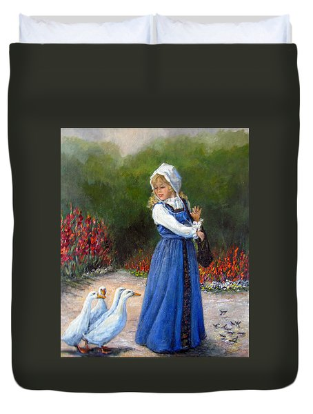 Garden Visitors Duvet Cover by Donna Tucker