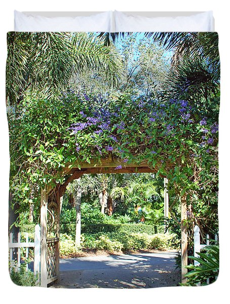 Garden Walkway Duvet Cover by Aimee L Maher Photography and Art Visit ALMGallerydotcom