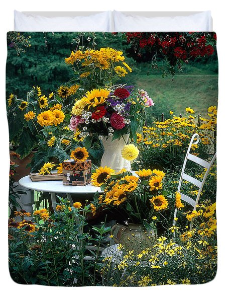 Garden With Table And Chair Duvet Cover by Hans Reinhard