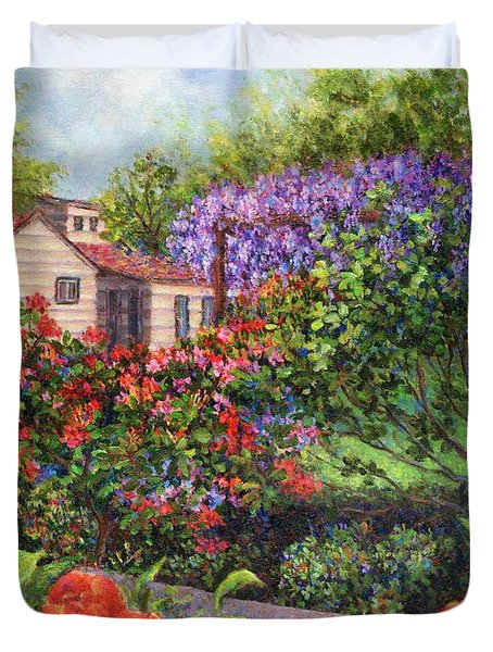 Garden With Tulips And Wisteria Duvet Cover by Susan Savad
