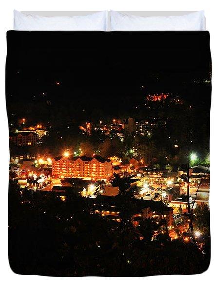 Gatlinburg At Night Duvet Cover by Nancy Mueller